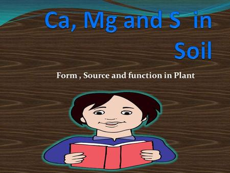 Form, Source and function in Plant. 1. Essential Nutrietns of Plants Chemical Atomic Ionic forms Approximate dry Element symbol weight Absorbed by plants____.