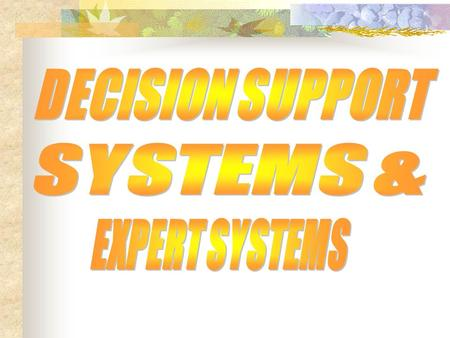 DECISION SUPPORT SYSTEMS & EXPERT SYSTEMS.
