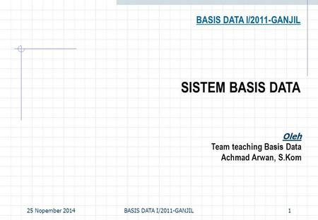 25 Nopember 2014BASIS DATA I/2011-GANJIL1 SISTEM BASIS DATA BASIS DATA I/2011-GANJIL Oleh Team teaching Basis Data Achmad Arwan, S.Kom.