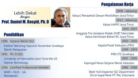 Pendidikan Institut Teknologi Sepuluh November Surabaya 1986 Teknik Perkapalan University of Newcastle Upon Tyne the UK Sarjana Teknik (S1) 1991Ph. D (S3)