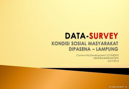 Community Development (COMDEV) KEMITRAAN BUMI DIPA JULY 2014 UP DATE 30 SEPT '14.
