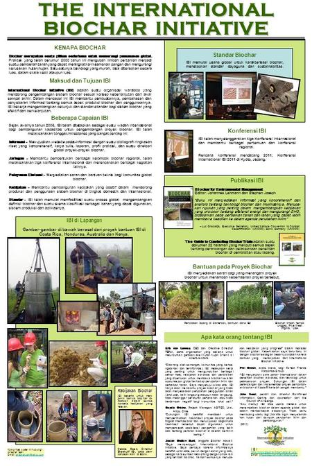THE INTERNATIONAL BIOCHAR INITIATIVE Konferensi IBI. Komunikasi poster ini hubungi: Anischan Gani