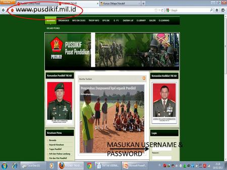 Www.pusdikif.mil.id MASUKAN USERNAME & PASSWORD. DOWNLOAD HANJAR.