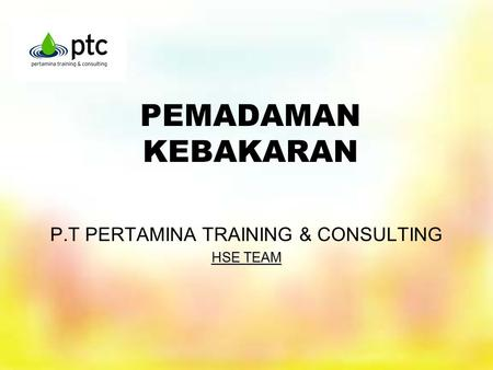 P.T PERTAMINA TRAINING & CONSULTING HSE TEAM