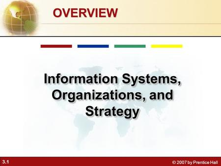 3.1 © 2007 by Prentice Hall OVERVIEW Information Systems, Organizations, and Strategy.