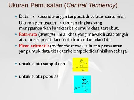 Ukuran Pemusatan (Central Tendency)