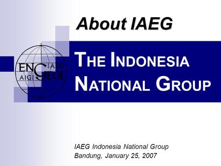 T HE I NDONESIA N ATIONAL G ROUP IAEG Indonesia National Group Bandung, January 25, 2007 About IAEG.