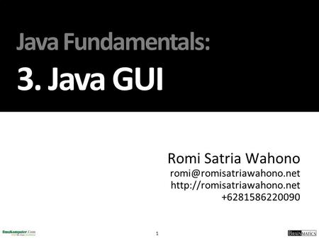 Java Fundamentals: 3. Java GUI