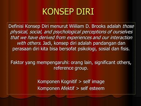 KONSEP DIRI Definisi Konsep Diri menurut Wiiliam D. Brooks adalah those physical, social, and psychological perceptions of ourselves that we have derived.