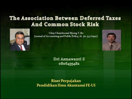 Uday Chandra and Byung T. Ro Journal of Accounting and Public Policy, 16, 311-333 (1997)