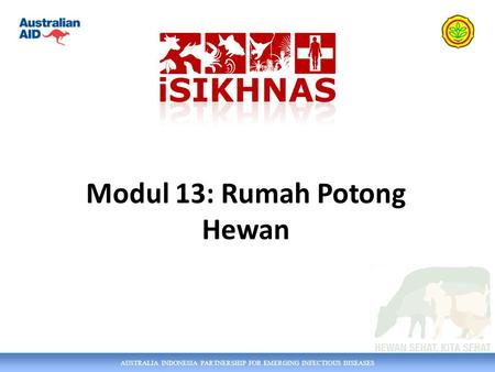 AUSTRALIA INDONESIA PARTNERSHIP FOR EMERGING INFECTIOUS DISEASES Modul 13: Rumah Potong Hewan.