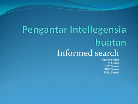 Informed search Greedy Search A* Search IDA* Search RBFS Search SMA* Search.