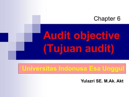 Audit objective (Tujuan audit)
