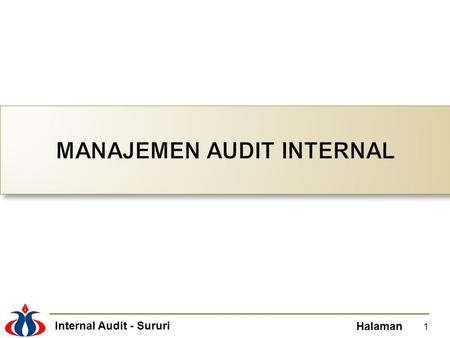Internal Audit - Sururi Halaman 1. Internal Audit - Sururi Halaman Chief Audit Executive (CAE) bertanggungjawab terhadap menajemen internal audit, untuk.