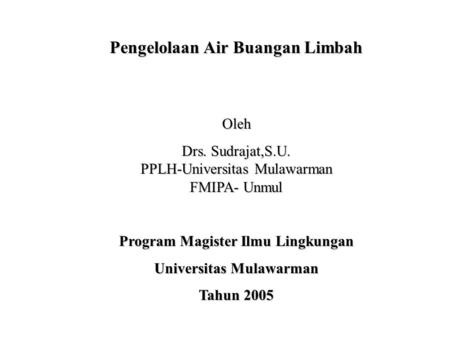 Program Magister Ilmu Lingkungan Universitas Mulawarman