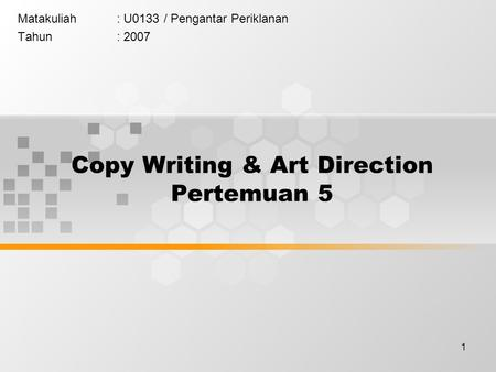 Copy Writing & Art Direction Pertemuan 5