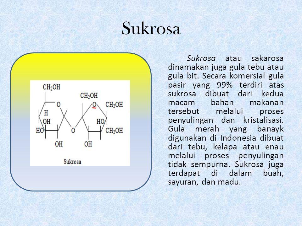 Glukosa Glukosa, dinamakan juga dekstrosa atau gula anggur, terdapat luas di alam dalam jumlah sedikit, yaitu di dalam sayur, buah, sirup jagung, sari pohon, dan bersamaan dengan fruktosa dalam madu.