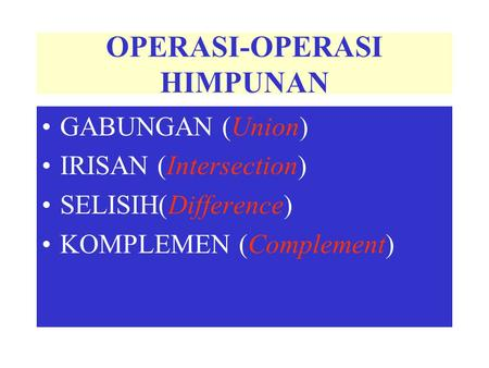 OPERASI-OPERASI HIMPUNAN GABUNGAN (Union) IRISAN (Intersection) SELISIH(Difference) KOMPLEMEN (Complement)