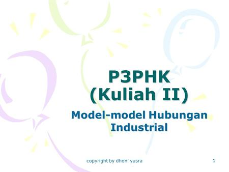 Model-model Hubungan Industrial
