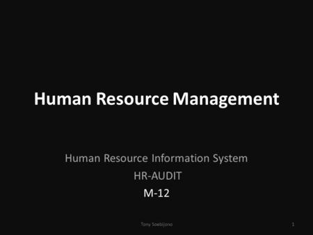 Human Resource Management Human Resource Information System HR-AUDIT M-12 1Tony Soebijono.