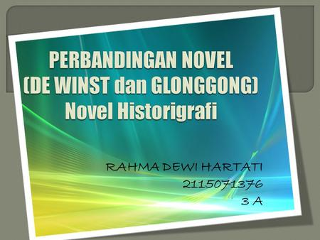 PERBANDINGAN NOVEL (DE WINST dan GLONGGONG) Novel Historigrafi