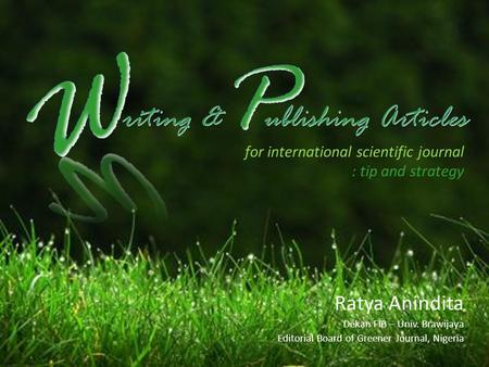 W P riting & ublishing Articles Ratya Anindita
