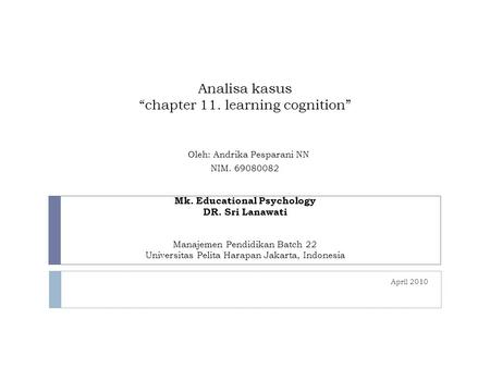 "Analisa kasus ""chapter 11. learning cognition"" Oleh: Andrika Pesparani NN NIM. 69080082 Mk. Educational Psychology DR. Sri Lanawati Manajemen Pendidikan."