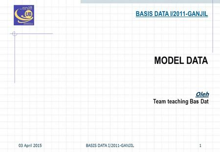 03 April 2015BASIS DATA I/2011-GANJIL1 MODEL DATA BASIS DATA I/2011-GANJIL Oleh Team teaching Bas Dat.