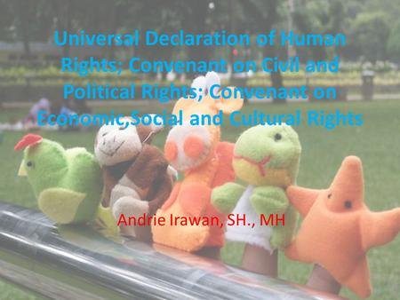 Universal Declaration of Human Rights; Convenant on Civil and Political Rights; Convenant on Economic,Social and Cultural Rights Andrie Irawan, SH., MH.