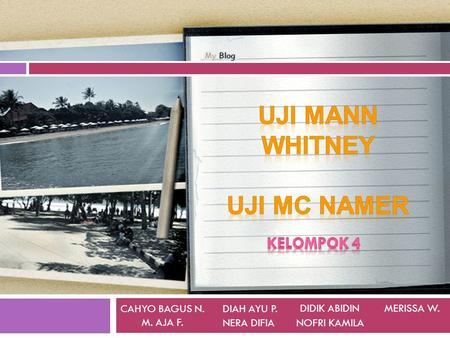 Uji Mann Whitney Uji Mc Namer