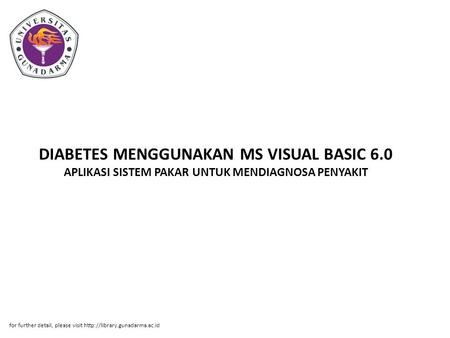 DIABETES MENGGUNAKAN MS VISUAL BASIC 6