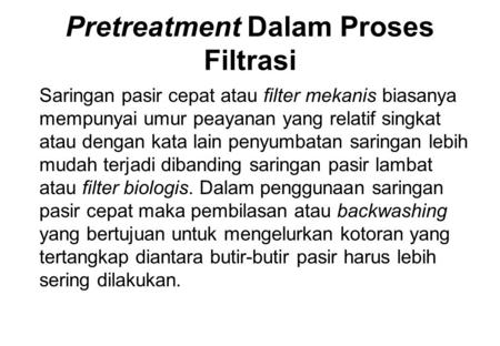 Pretreatment Dalam Proses Filtrasi