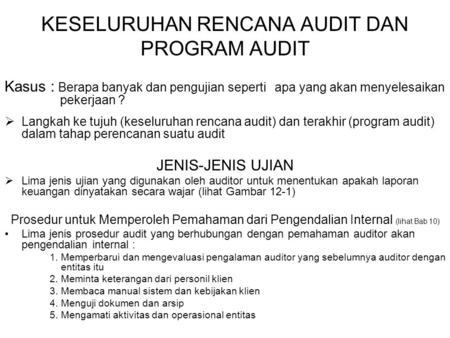 KESELURUHAN RENCANA AUDIT DAN PROGRAM AUDIT