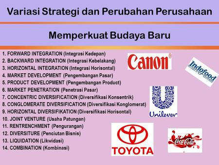 Variasi Strategi dan Perubahan Perusahaan 1. FORWARD INTEGRATION (Integrasi Kedepan) 2. BACKWARD INTEGRATION (Integrasi Kebelakang) 3. HORIZONTAL INTEGRATION.