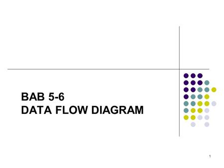 1 BAB 5-6 DATA FLOW DIAGRAM. 2 RUANG LINGKUP Pengertian Data Flow Diagram (DFD) Komponen DFD Levelisasi DFD.