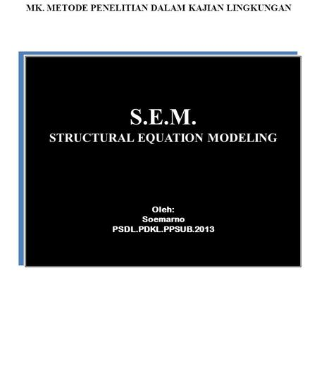 S.E.M. STRUCTURAL EQUATION MODELING