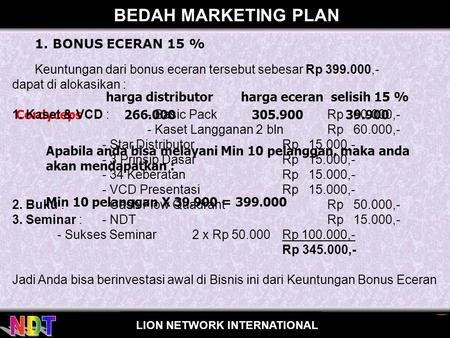 BEDAH MARKETING PLAN 1. BONUS ECERAN 15 %