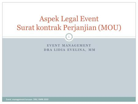 Aspek Legal Event Surat kontrak Perjanjian (MOU)