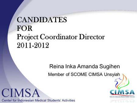 CANDIDATES FOR Project Coordinator Director