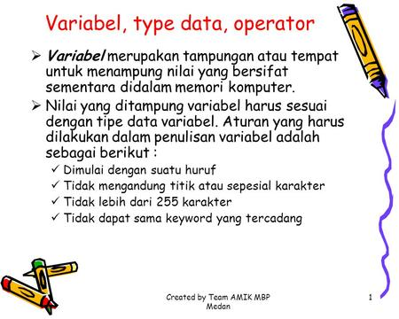 Variabel, type data, operator