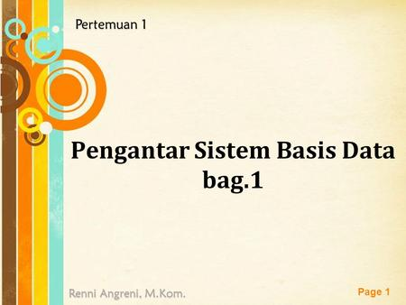 Pengantar Sistem Basis Data bag.1