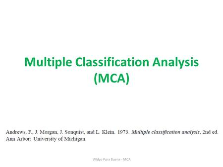 Multiple Classification Analysis (MCA)