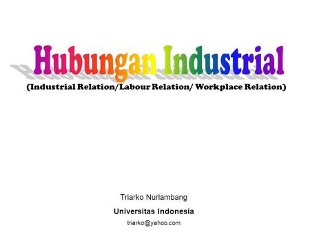 Triarko Nurlambang Universitas Indonesia (Industrial Relation/Labour Relation/ Workplace Relation)