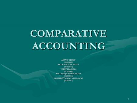 COMPARATIVE ACCOUNTING