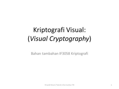 Kriptografi Visual: (Visual Cryptography)
