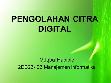PENGOLAHAN CITRA DIGITAL