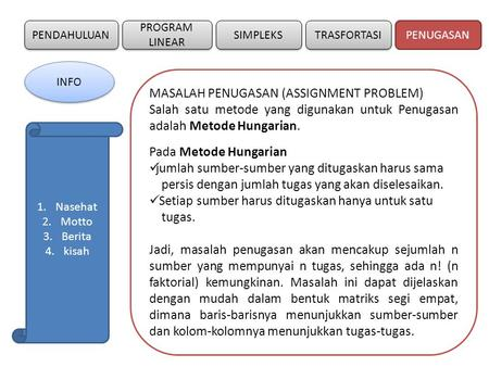 MASALAH PENUGASAN (ASSIGNMENT PROBLEM)