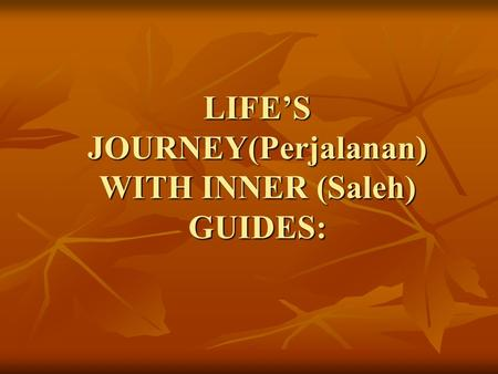 LIFE'S JOURNEY(Perjalanan) WITH INNER (Saleh) GUIDES:
