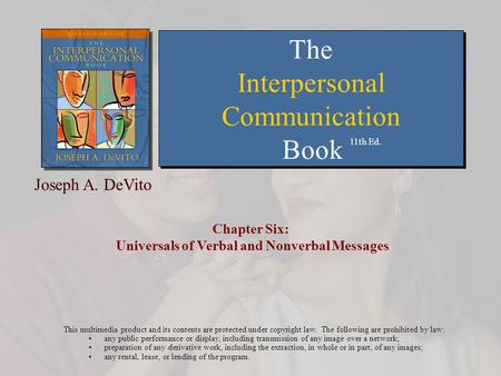 Chapter Six: Universals of Verbal and Nonverbal Messages