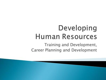 Training and Development, Career Planning and Development.
